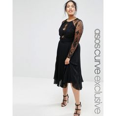 ASOS CURVE Pretty Lace Eyelash Pleated Midi Dress ($115) ❤ liked on Polyvore featuring dresses, black, plus size, lace fit-and-flare dresses, lace cocktail dress, lace overlay dress, fit and flare midi dress and plus size lace dress