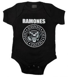 The first punk rock group is represented on this officially licensed, 100% cotton baby one piece bodysuit featuring the traditional Ramones presidential seal logo with the names Johnny, Joey, Dee Dee