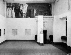 XIVth exhibition 1902, left side-aisle with the Beethoven Frieze by Gustav Klimt. Foto: Secession