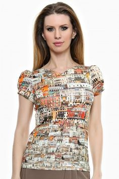 "Bluza tricot imprimat cu decolteu in "" V "". Short Sleeve Dresses, Dresses With Sleeves, Retro, Fashion, Tricot, Moda, Sleeve Dresses, Fashion Styles, Fashion Illustrations"