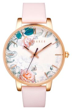 So in live with this adorable watch from Ted Baker! Lush blooms in soft pastel shades flourish on the gilded round dial with slender indices and a coordinating soft leather band.