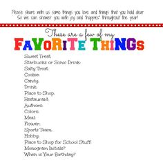 EveryDay Blessings: Teacher's Favorite Things Printable