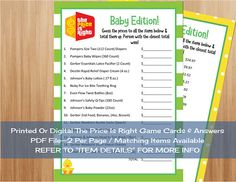 The Price Is Right Baby Edition Game Cards U0026 Answer April
