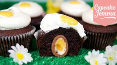 It's EASTER!!! That means that Cream Eggs are available in abundance. But why just eat them when you could bake them into cupcakes for the ultimate Easter egg-hunt? AND make the cupcakes look like EGGS?