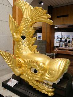 A golden shachihoko in Nagoya-Castle, Aichi, Japan.