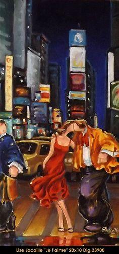 Lise Lacaille original oil painting on canvas New York's Kiss Couple Art, Oil Painting On Canvas, New Art, Watercolor Art, The Originals, Artwork, Marcel, Recherche Google, Watercolors