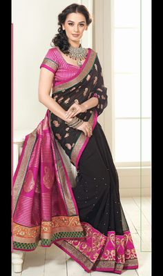 Evelyn Sharma Pink and Black Art Silk Georgette Saree Price: Usa Dollar $108, British UK Pound £64, Euro80, Canada CA$117 , Indian Rs5832.