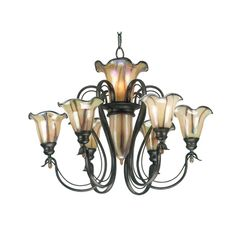 Destination Lighting - Chandelier with Art Glass in Tuscan Silver Finish