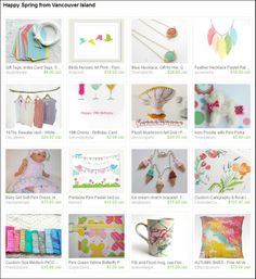 Happy Spring from Vancouver Island!  Etsy Team, Pastels, Easter, Spring collection. Curated by Micki of A2SeaCreations on Etsy