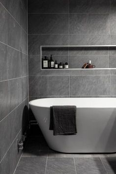Gray and White Bathroom Tile Idea. 20 Gray and White Bathroom Tile Idea. 40 Gray Shower Tile Ideas and Pictures … Neutral Bathroom Tile, Modern Bathroom Design, Bathroom Interior Design, Bathroom Flooring, Bathroom Cabinets, Bathroom Curtains, Gray And White Bathroom Ideas, Modern Toilet Design, Grey Bathroom Decor