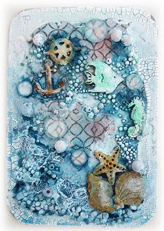 mixed media art Bumblebees and Butterflies: Down at the bottom of the deep blue sea Mixed Media Collage, Mixed Media Canvas, Collage Art, Paper Collages, Altered Canvas, Altered Art, Mix Media, Nautical Colors, Nautical Cards