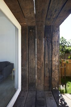 Detail of timber sleepers framing French doors - Freshwater Semi, David Boyle Budget Home Decorating, Small House Decorating, Railway Sleepers, Lean To, Rustic Outdoor, Cladding, French Doors, Decoration, Layout Design
