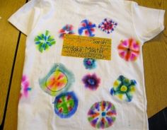 Great art project for the end of the year.  A T-shirt that has been tie-dyed using marker pens and with an iron on patch.