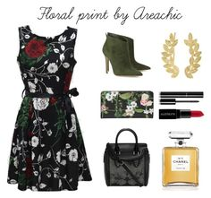 """Floral print"" by areachic ❤ liked on Polyvore featuring Gianvito Rossi, Ted Baker, Alexander McQueen, Chanel, Smashbox and Eddera"