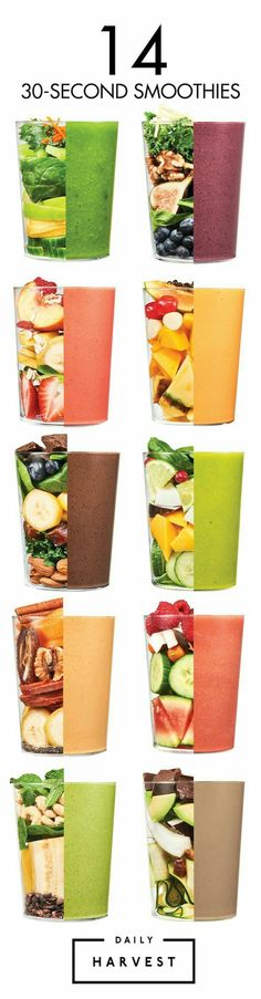 14 thirty second smoothies. For Mouthwatering Smoothie Recipes visit: https://uk.pinterest.com/chefverdi/smoothie-recipes/