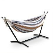 Smartxchoices Double Hammock With Space Saving Steel Stand W/ Free Waterproof Carrying Case,Capacity 450 lbs (Elegant Desert Stripe)