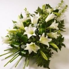 Funeral Spray with white lillies Funeral Sprays, White Lilly, Floral Arrangements, Flower Arrangement, Sympathy Flowers, Funeral Flowers, Beautiful Flowers, Funeral Ideas, Bouquet