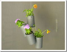 Hanging metal can planters