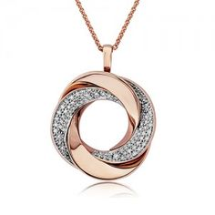 This large, solid pendant measures 22mm in diameter, excluding the chain bail, and is made of gorgeous 14ct rose gold weighing over six grams. The pavé set diamonds weigh over a third of a carat and the pendant comes complete with a matching 18 inch rose gold chain.