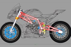 This is the initial design for the chassis, consisting of the frame, subframe and swingarm. With only reference images to ork off for dimesi. Motorbike Design, Bicycle Design, Homemade Motorcycle, Sv 650, Futuristic Motorcycle, Futuristic Cars, Bike Sketch, Bike Drawing, Concept Motorcycles