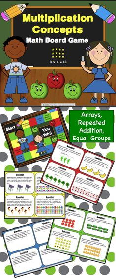 This Multiplication Concepts Board Game contains 32 WORD PROBLEM game cards and a game board to help students practice solving and interpreting multiplication problems using equal groups, repeated addition, and arrays. This game works great as a pair/group activity, or for use in math centers. $