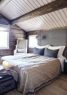 SKRÅTAK: Andre etasje i denne hytta har full mønehøyde med synlige takbjelker og ordentlig hyttestemning. Takhøyden er ca. 260 cm ved mønet og 180 cm ved ytterveggen.