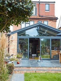 Real home: an industrial-style kitchen extension to a house industrial style kitchen extension exterior 1930s House Extension, House Extension Plans, House Extension Design, Extension Designs, Glass Extension, Roof Extension, Extension Ideas, Kitchen Extension Pitched Roof, Kitchen Extension Exterior