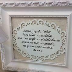 Happy Thanks Giving! 🙏Proteção para os pequenos com charme neste quadro tamanho 45 x 45 cm moldura provençal R$240 #santoanjo #oracaoanjodaguarda #quartodebebe #anjinho #anjodaguarda #thanksgiving2014 #babydecor #bebe #baby #oracao  #protecao #artemelada #gratidao