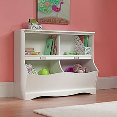 White Bookcase Storage Bins Kids Toy Storage Playroom Bookshelves