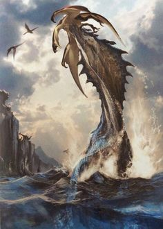 Lagiacrus, Not my art nor know who it belongs too Alien Creatures, Prehistoric Creatures, Fantasy Creatures, Sea Creatures, Monster Hunter 3rd, Monster Hunter Series, Monster Design, Aliens, Creature Concept