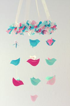 Bird Nursery Mobile in Pink Turquoise & Aqua by LovebugLullabies