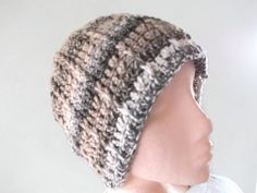 Unisex Crochet Hat in Browns and Beige. by UniquelyYourDesigns, £12.50