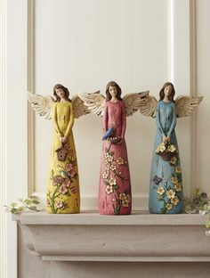 Whimsical Garden Angels Figurines Whimsical Garden Angels Figurines Assortment of 3 Set of 3 14 Angel Decor, Angel Art, Bottle Art, Bottle Crafts, Willow Tree Figures, Clay Angel, Pottery Angels, Ceramic Angels, Garden Angels