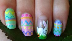 manicure design check out www. for more nail art ideas. Easter Nail Designs, Easter Nail Art, Seasonal Nails, Holiday Nails, Halo Nails, Beauty Hacks, Beauty Tips, Pedicure Ideas, Nail Ideas