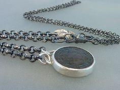 Roman bronze button pendant  Anncient roman button by anakim, $218.00