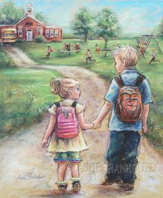 Brother and sister  Print Canvas art school by LaurieShanholtzer