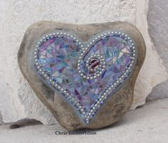Iridescent Purples and Blue with Silver and Beads Heart  - Mosaic on Rock / Garden Stone