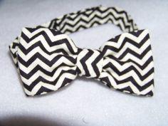 black and white chevron child sized bowtie dress up bow tie