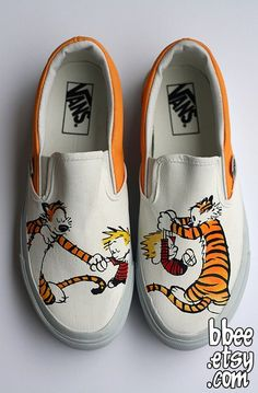 This listing is for a pair of Calvin and Hobbes themed shoes. These shoes are perfect for any Calvin and Hobbes fan and would make a excellent gift. Women's Shoes, Fall Shoes, Winter Shoes, Gucci Shoes, Slip On Shoes, Shoe Boots, Hype Shoes, Balenciaga Shoes, Valentino Shoes