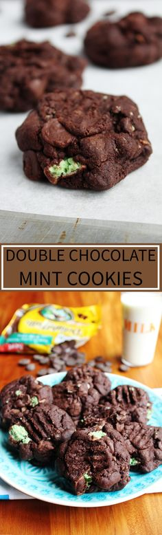 Double Chocolate Mint Cookies - Easy, supremely chocolatey cookies stuffed with extra chocolate chips and fresh mint chocolate flavour. There is so much to love about these decadent cookies and they are a must for any mint lover!