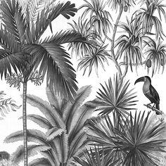 Paysages 200x220 - Jarawa Noir et Blanc L200xH220 cm - Ultra mat - 2 lés de 100 cm
