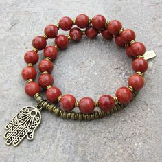 Grounding, root chakra, genuine Red Jasper 27 bead mala bracelet with Hamsa Hand