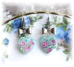 Sweetheart Hand Painted Heart Charm Shell Earrings Pink Blue Roses Bows Girly by TheVintageHeart, $14.00