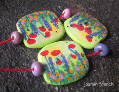 jasmin french  ' wildflower meadow ' lampwork beads set sra