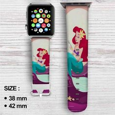 Ariel Mermaid After Eat Custom Apple Watch Band Leather Strap Wrist Band Replacement Apple Watch 38, Apple Watch Models, Amazing Watches, Cool Watches, Unusual Watches, Stylish Watches, Custom Apple Watch Bands, Disney Apple Watch Band, Apple Watch Accessories