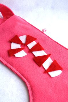 retro candy cane eco friendly felt stocking in pink