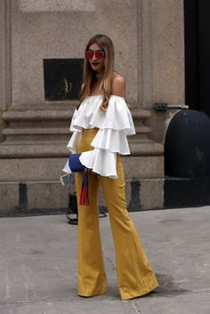 Add a ruffle off-the-shoulder top to high-waisted pants this spring!