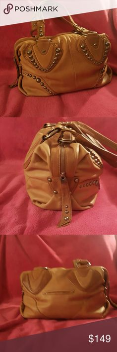 B. Markowsky ❣ leather satchel Tan quality leather satchel style handbag with gold stud accents and hardware one large spacious compartment inside with one side zip pocket and two small side pockets below. Double shoulder straps. Small exterior pockets on back side this stylish handbag has been gently used and is in good condition B.Markowski  Bags Satchels