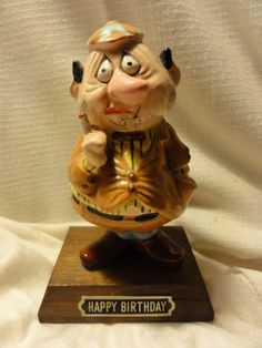 Vintage HAPPY BIRTHDAY Statue of Over The Hill Old Bald Man W/ Cap Gag Gift