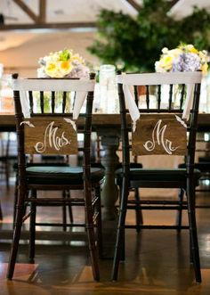 Mr & Mrs chair markers